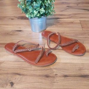 American Eagle Braided Leather Strappy Sandals 9